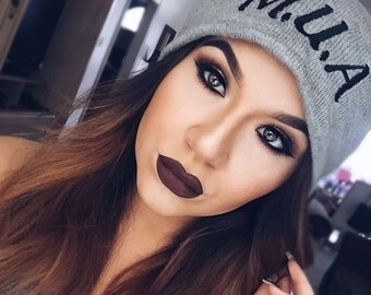 Slouchy Beanie with word Mua Embroidered Beanie Hat