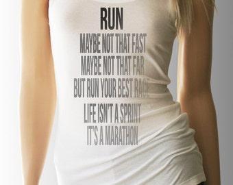 Run Life Isn't a Sprint Its a Marathon. Running Shirt. Running Tank. Inspirational. Inspirational TShirt. Workout Shirt. Tank. Workout Tank.