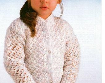 girls childrens cardigan dk knitting pattern 99p pdf