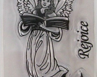 "Hot Off The Press ""Rejoice Angel"" Silicone-Based Clear Stamps, 3 Clear Acrylic Silicone Scrapbooking Stamps 3.5""x2.25"", Scrapbooking Ideas"