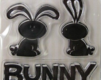 "We R Memory Keepers ""Bunny"" Clear Stamps, 3 Clear Acrylic Scrapbooking Stamps 3""x3"", Holiday Scrapbooking Ideas, Embellishments"