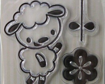 "We R Memory Keepers ""Little Lamb"" Clear Stamps, 3 Clear Acrylic Scrapbooking Stamps 3""x3"", Baby Scrapbooking Ideas, Embellishments"