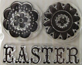 "We R Memory Keepers ""Easter"" Clear Stamps, 3 Clear Acrylic Scrapbooking Stamps 3""x3"", Easter Holiday Scrapbooking Ideas, Embellishments"