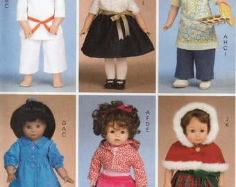"""18"""" Doll Clothes Sewing Pattern, 18 Inch Doll Costumes Sewing Patterns, Doll Clothes Pattern, Uncut Sewing Pattern, McCalls Crafts M6006"""