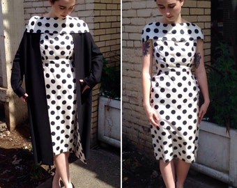 Vtg 50's Fabulous 2Pc Polka Dot Matching Dress and Coat Hollywood 1950's Extra Small XS