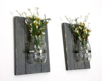 Set of 2 Mason Jar Wall Decor - Distressed Rustic Mason Jar -Rustic Wall Decor - Spring Decor - Wall Flower Jar -Wall Planter - Best Selling