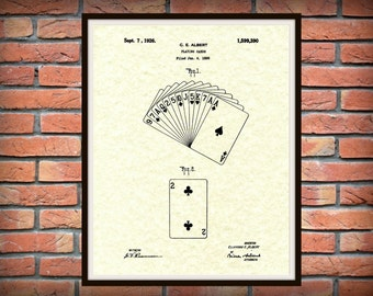 Patent 1926 Playing Cards Patent Art Print - Poster - Poker Deck of Cards - Game Room -Casino Wall Art - Gin Rummy - Euchre Cards - Gambling