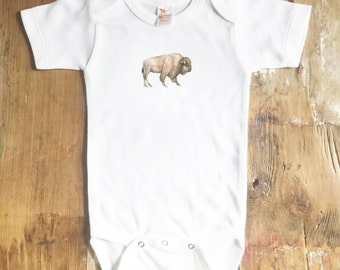 Buffalo Onesie - Animal Onesie - Baby Onesie - Baby - Bison Onesie - Buffalo - Baby Girl Onesie - Baby Boy Onesies - Onesie - Bison