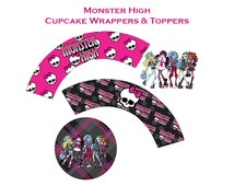 Monster High Printables - Monster High Cupcake Wrappers - Monster High Cupcake Toppers - Monster High Party Favors - Instant Download - DIY