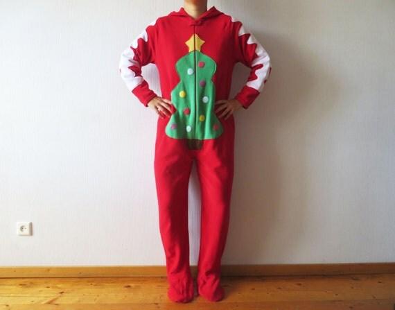 Funny Christmas Morning Adult Fleece Onesie Pajamas Red