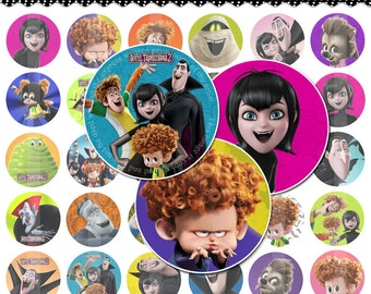"""60 Hotel Transylvania 2 - 1"""" Bottle Cap Circle Images on Digital Collage Sheets, Hairbows, Stickers Instant Download"""