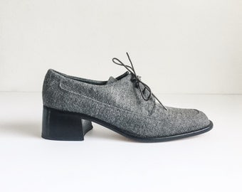 gray oxfords / wool with chunky heel 8N / lace up oxford / wool oxfords / gray shoes / wool oxfords / preppy shoes / tomboy chic