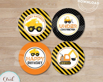 CONSTRUCTION cupcake toppers, Dump Truck Cupcake Topper, Construction Party Circles, Birthday Party Decorations, Instant download.