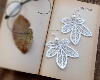 Lace Earrings, Leaf Earrings, Statement Earrings, Ivory Lace, Bridal Earrings, Boho Earrings, Lace Jewery