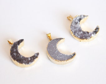 1 Piece - Crescent Moon Druzy Pendant - Grey Druzy - Purple Druzy - Dipped - Gold Plated Pendant - Half Moon Druzy Brazilian Druzy / G-SP011