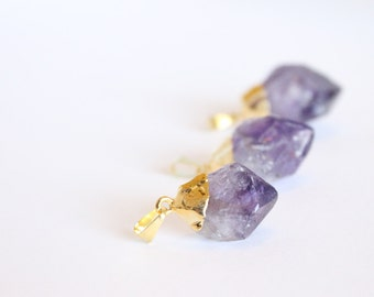 1 Piece - Amethyst Point Pendant - Gold Plated - Jewelry Supplies - Wholesale Pricing - Amethyst Point Purple Stone Bulk Pendants / G-SP002