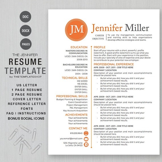 resume template for ms word and pages 1 and 2 page by templatesnm
