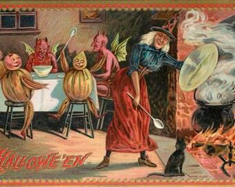 Witch Stirring Cauldron, Halloween Cauldron, Stirring Cauldron, Halloween Witch Stirring Cauldron, Stirring Cauldron Witch, Witch Stirring