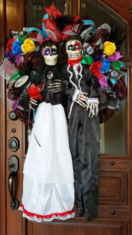 Halloween Mesh Wreath, Day of the Dead Wreath, Dia de los Muertos ...