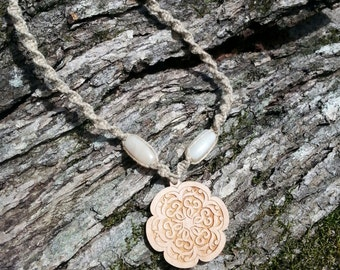 Wooden Flower Hemp Necklace