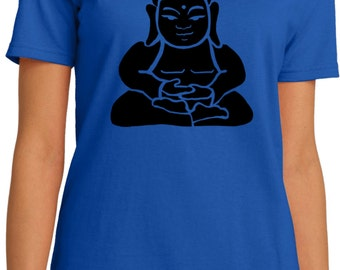 Yoga Clothing For You Ladies Shirt Shadow Buddha Organic Tee Shirt = LPC150ORG-SHADBUD