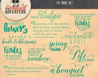 Word art digital scrapbooking instant download scrapbook elements inspirational spring phrases sayings quotes words  typography clip art