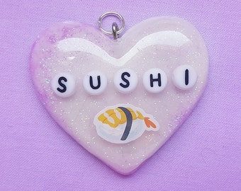 Sushi Japanese Heart Resin Jewelry, Resin Heart Charm Necklace, Resin Pendant