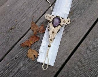 SALE! Goddess amethyst crystal macrame slave bracelet