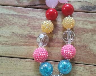 Pinkie Pie, Fluttershy & Rainbow Dash Chunky Bubblegum Necklace, My Little Pony, My Little Pony Pendant, Childs Necklace, Waterproof pendant