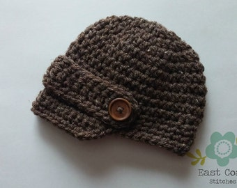 Baby Boy Newsboy Hat - Newsboy hat in sizes Newborn to 12 Months - Brown Newsboy Hat - Newsboy Beanie - Boy's Crochet Hat - Brimmed Hat