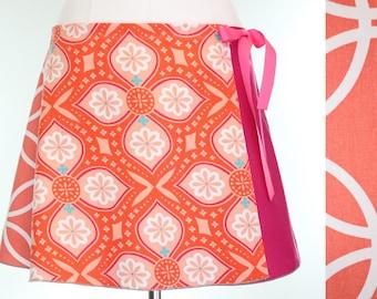 Salmon Mid Length Wrap Skirt- Peach Graphic Midi Skirt- Summer Circle Skirt- Upcycled Wrap Skirt- Repurposed Clothing- Charley Girl Designs