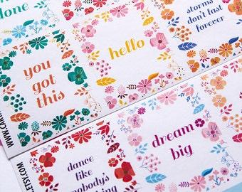 9 motivation stickers, quote planner stickers, full box sticker, square sticker floral flower spring eclp filofax happy planner kikkik