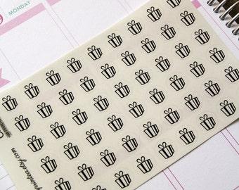 54 black birthday stickers, party sticker, transparent clear stickers, ec filofax kikki.k planner stickers, reminder stickers