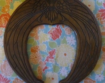 Vintage Horseshoe shaped Wooden wall art/ mirror frame