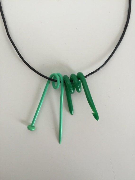 Knitting Needle Gauge Necklace : Crochet hook knitting needle necklace gift for yarn lover