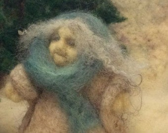 Wise Woman. Wool Needle Felted Sculpture.