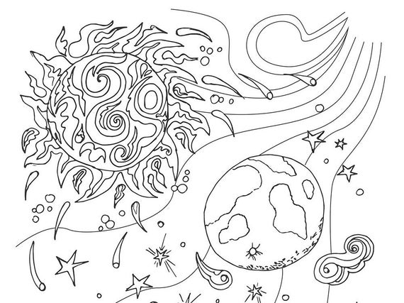 Sun And Moon Creation Coloring Page. Adult Coloring Book