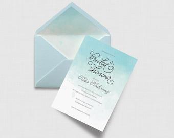 "Aqua Watercolor 5"" x 7"" Bridal Shower Invitation - Digital or Printed"