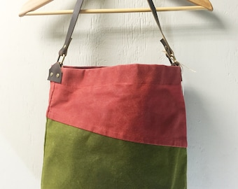 Large Hand Waxed Canvas Bag - Olive and Burnt Scarlet canvas  Tote bag, Handbag