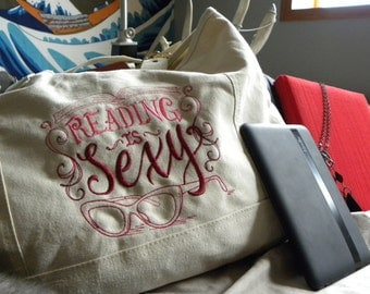 Reading Is Sexy - Embroidered Purse