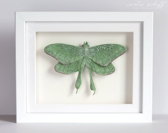 Fanciful Luna Moth Sculpture - Framed Wall Art - Paper Clay Figurine - Ready to Ship