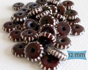 Dark Brown Bone Beads Slash Line Pattern--10 Pcs | 20-BN252-10
