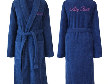 Personalised SHAWL Dark Blue Towelling Cotton Dressing Gown Bathrobe, His or Hers