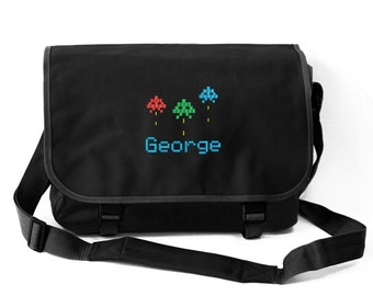 Personalised Boys Messenger School Bag with Video Game Logo