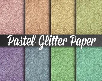Pastel Glitter Paper - Pastel Scrapbooking Paper, Digital Glitter Paper, Glitter Paper, Glitter Clipart, Digital Papers, Metallic Papers
