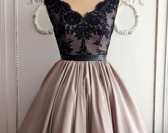 Beige and black lace dress
