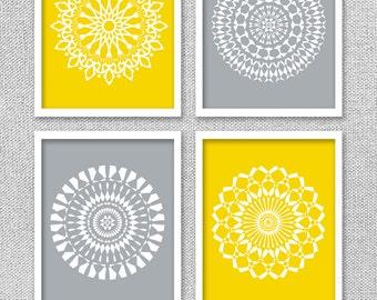 Printable Art, Medallion Art, Medallion Wall Art, Mandala Art, Yellow and Gray Art, Digital Prints, Printable Wall Art,  Mandala Prints