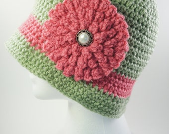 Cloche Hat Green Pink Flapper Hat Winter Hat 1920s Hat Womens Hat Vintage Hat Flower Hat Gift for Her Bucket Hat Crochet Hat Womens Fashion