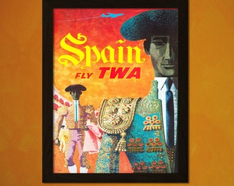 Spain Travel Poster - Vintage Travel Print Dorm Poster Tourism Art Reproduction Retro Poster Vintage TWA Poster   Reproduction