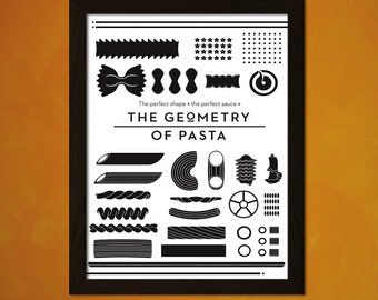 Geometry Of Pasta - Vintage Pasta Print Retro Kitchen Decor Kitchen Poster Kitchen Prints Pasta Poster   bp Reproductiont